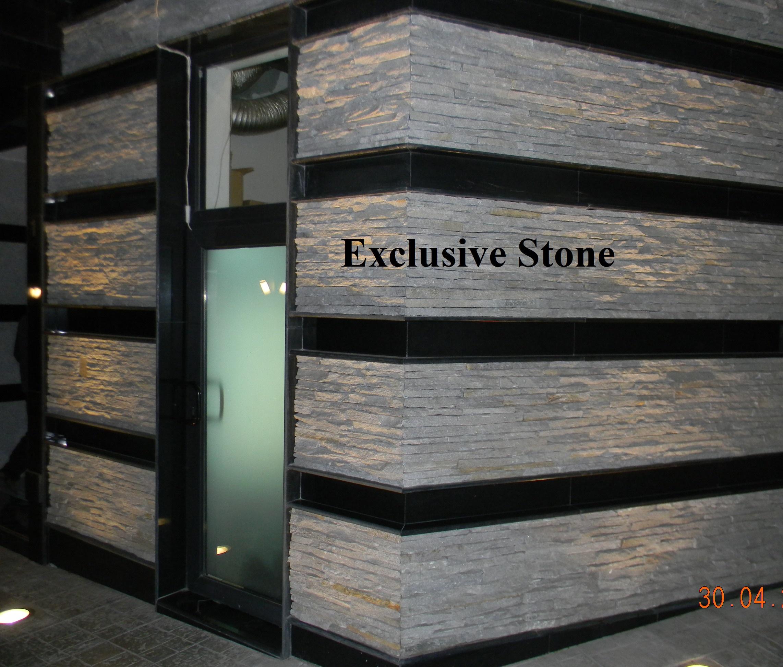 Placare Straifuri Travertin si model Granit Nero Assoluto