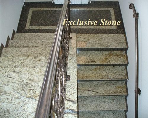 Placare trepte granit Cecilia si model podest cu Granit Baltic