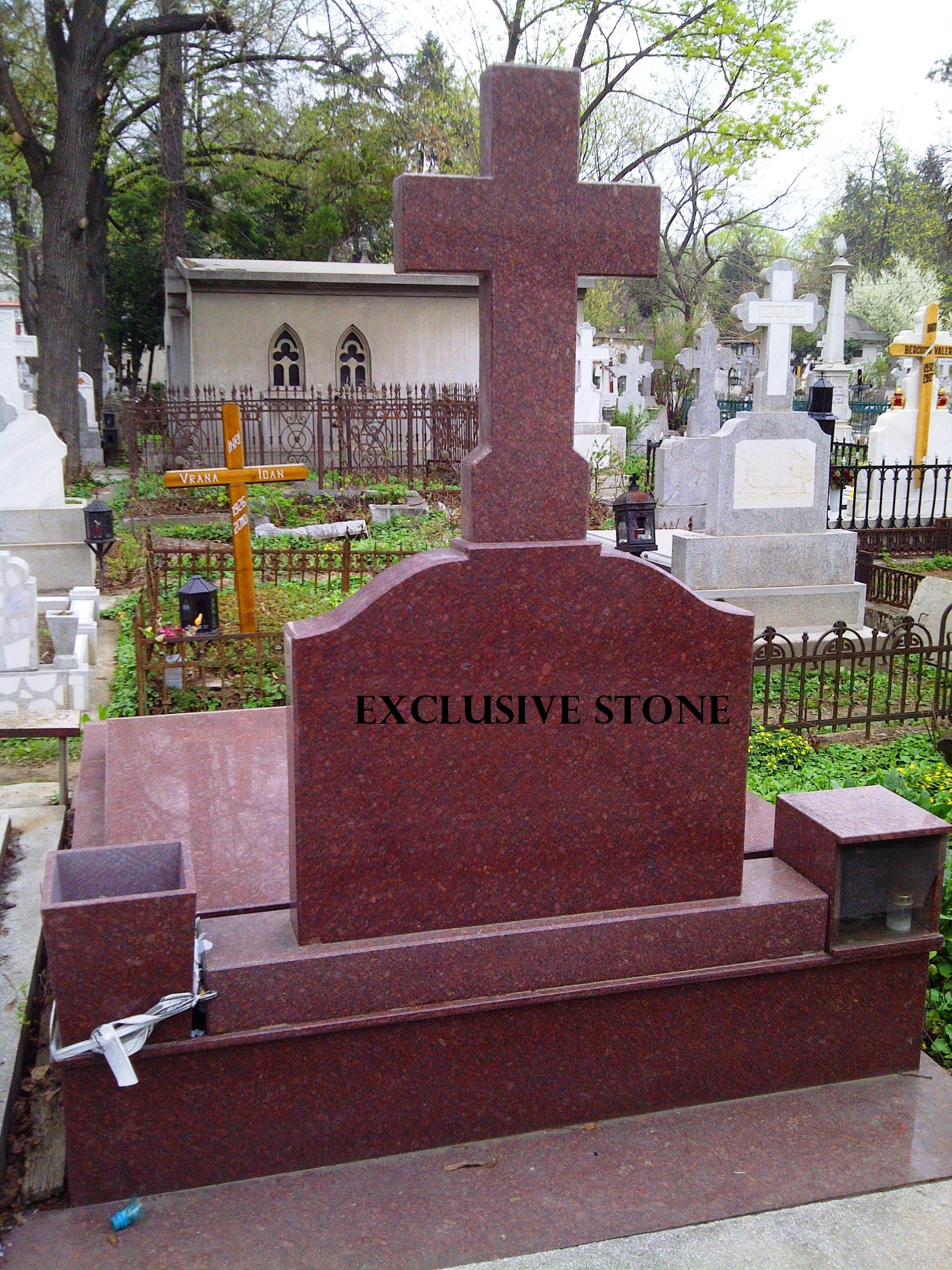 Cruce , capac si placare  din masiv de granit Rosu Imperial